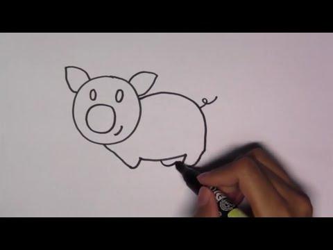 วาดรูปการ์ตูนน่ารัก ระบายสี และเรียนรู้ภาษาอังกฤษ Pig หมู