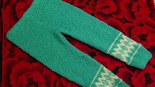 Штанишки вязаные спицами детские.Вязание для детей.