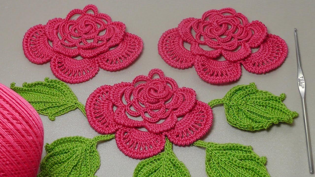 вязание розы для ирландского кружева вязание на бурдоне Rose