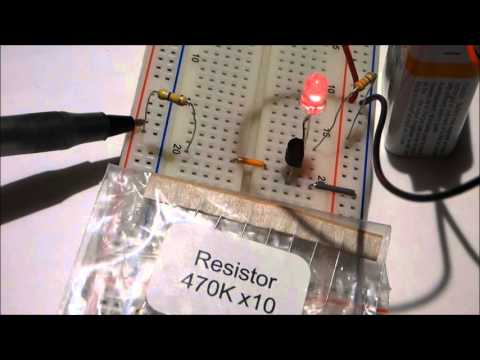 NPN 2N2222 transistor component as switch and amplifier circuits with schematic tutorial. 2N2222A