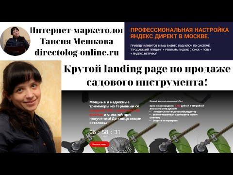 Продающий лендинг + Настройка Яндекс Директ. Продажа садовой техники. Директолог Таисия Мешкова