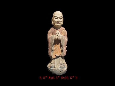 Chinese Antique Wood Hand Carving Standing Monk Statue WK2868