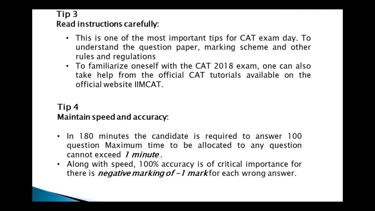 CAT 2018 Exam Day Tips - Check 10 Tips for CAT Exam