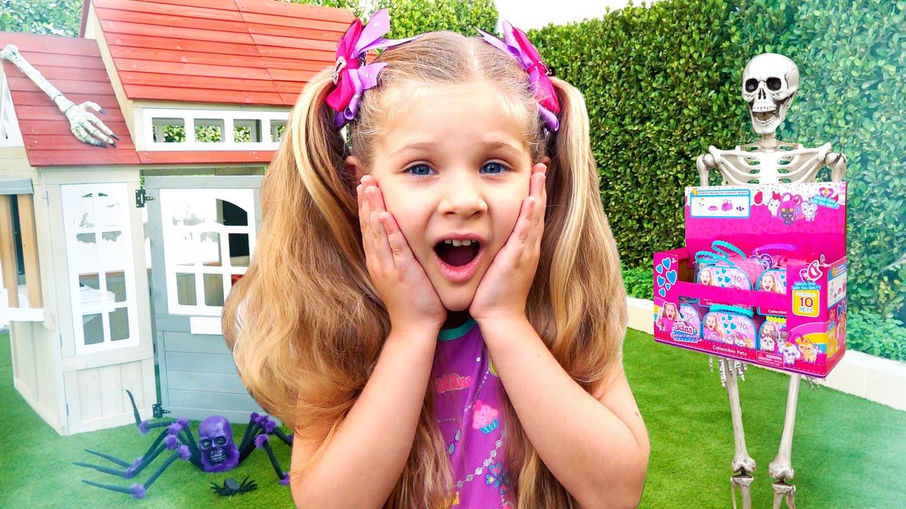 ديانا تتظاهر بلعب قصة لعبة الحلوى المضحكة - مفاجآت وألعاب فيديو للأطفال