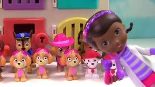 Paw Patrol is Sick an in Doc McStuffin Animal Hospital Learn Colors and Find Toy Surprises!