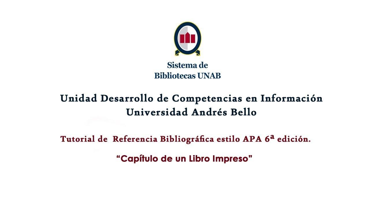 Normas Apa 6ta Edición Referencia Bibliográfica Capítulo Libro Impreso Video Inclusivo