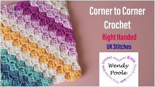Beginners Corner to Corner Crochet (UK stitches) - Wendy Poole
