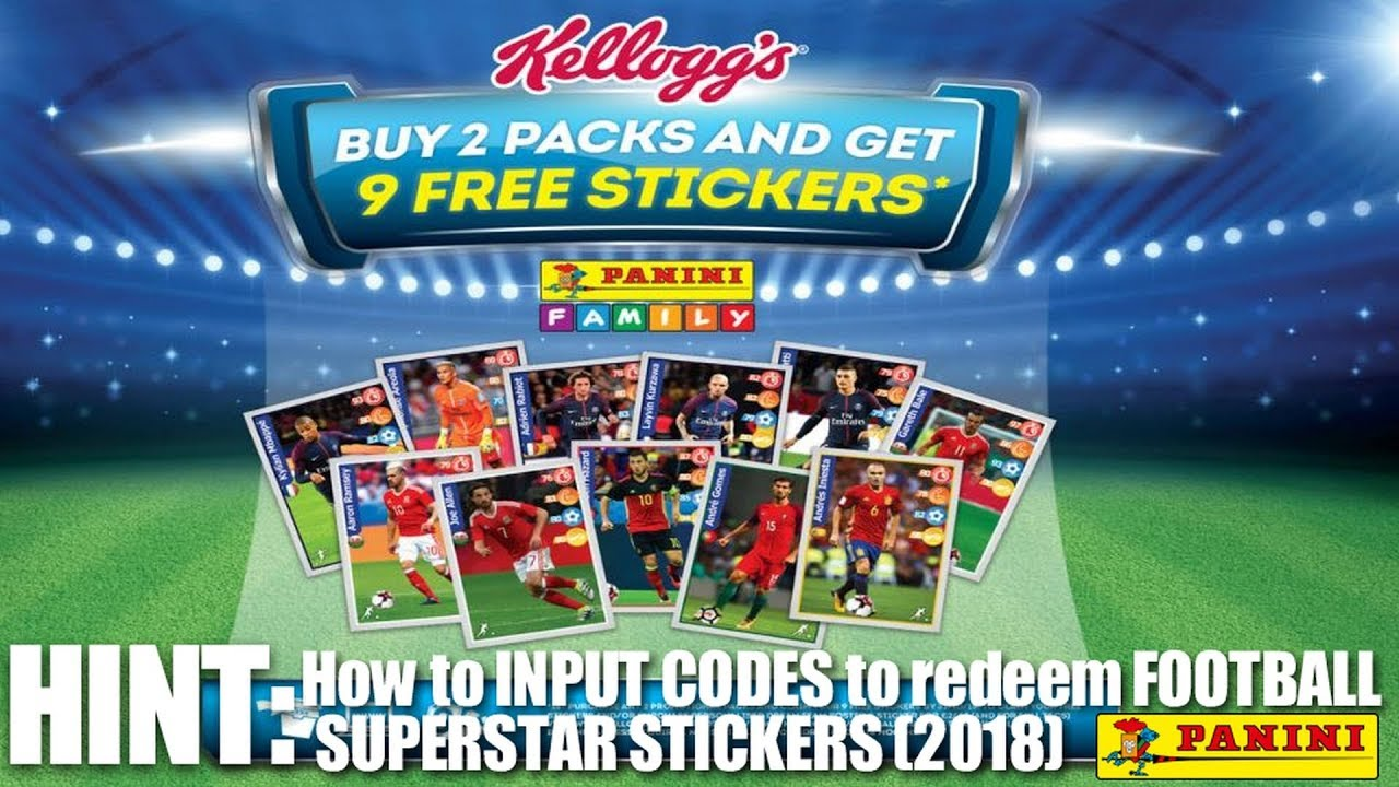 CODE INPUTTING to obtain Panini FOOTBALL SUPERSTAR STICKERS (2018) ⚽ Kellogg's