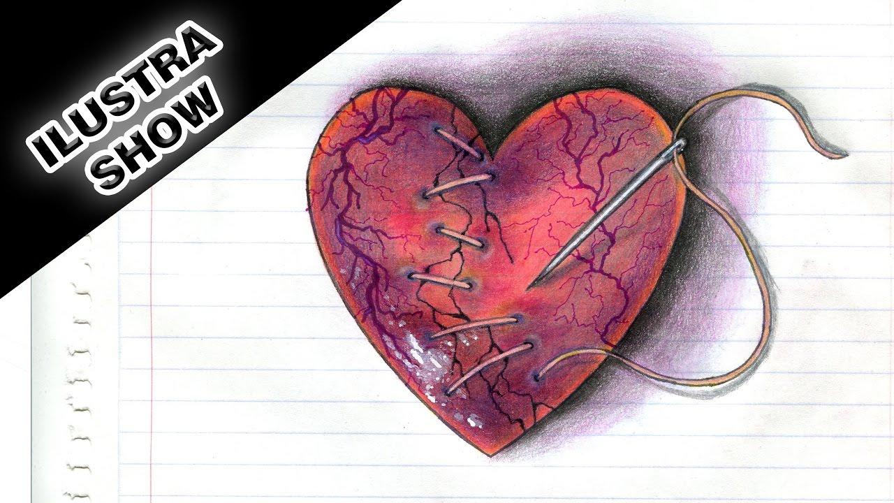 Como Dibujar Y Colorear Un Corazón Herido Corazones Rotos Tutorial