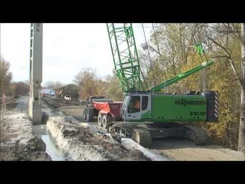 SENNEBOGEN - Special Civil Engineering 690 HD Duty Cycle Crawler Crane Embankment Restoration