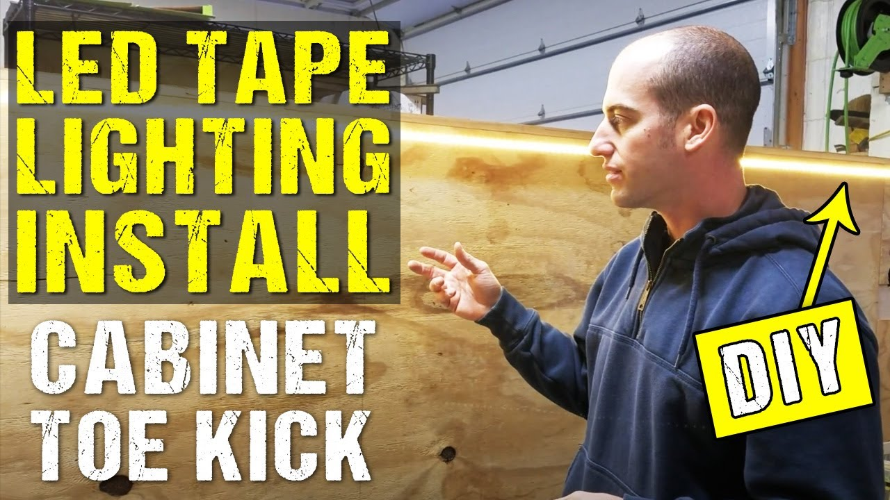 diy how to install led tape lighting on cabinet toekick ground effects