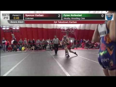 210 Spencer Karban Coleman vs Dylan Nottestad Westby Wrestling Club 6474887104