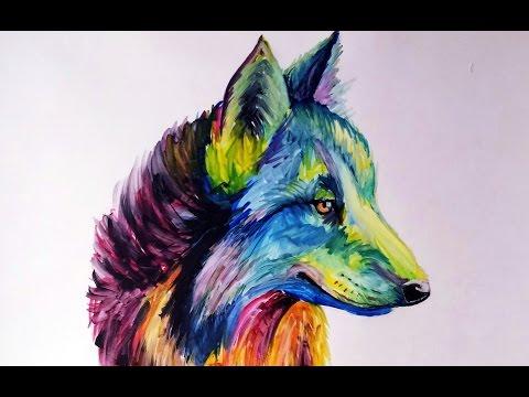 Cómo dibujar un Lobo Multicolor (Color Explosion) + Review Pigment Markers de Winsor & Newton