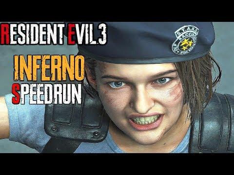 RESIDENT EVIL 3 Remake - Inferno Mode Speedrun World Record 00:57:47 (4K 60FPS) NG+