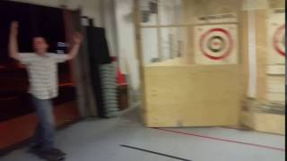 Axe Throwing Bulls Eye on Skate Board