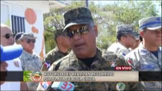 Autoridades realizan recorrido por playa de Boca Chica