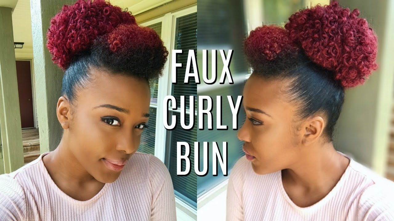 protective styling | faux curly bun + curly bang/hump | using drawstring ponytail