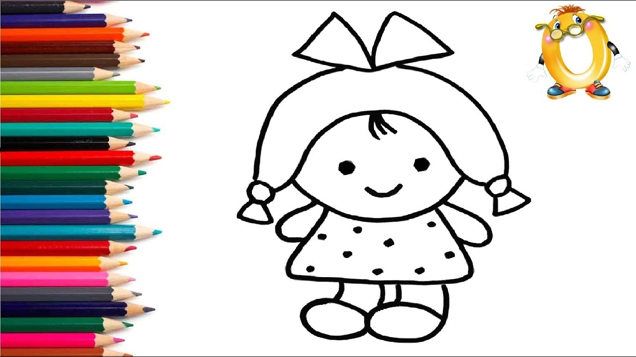 Раскраска для детей КУКЛА. Мультик - Раскраска. Учим цвета ...