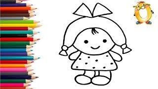 Раскраска для детей КУКЛА. Мультик - Раскраска. Учим цвета II ОБУЧАШКА ТВ
