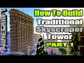 Minecraft How To Build Traditional Skyscraper Tower Flatiron Building Inspired Part 1