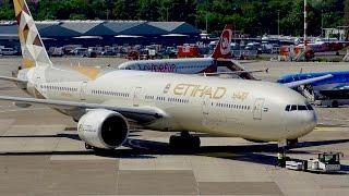 GORGEOUS Etihad Airways Boeing 777-300ER takeoff at Düsseldorf Airport | new livery
