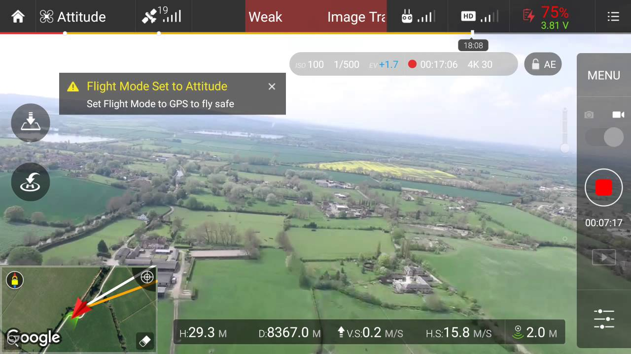 Dji Phantom 3 Professional 29500 Feet Max Distance Test In Ce Mode 9 Kilometres 55 Miles