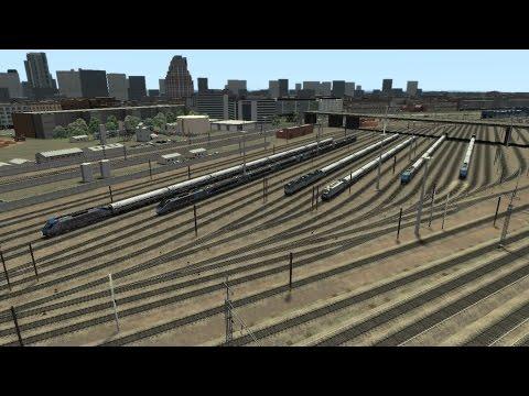 Train Simulator 2014 HD EXCLUSIVE: P32AC-DM Empire Service Trains Turning Through Sunnyside Yard