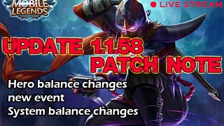 Mobile Legends - Update 1.1.58 Patch Note | Test Live Stream , Solo Rank