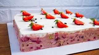 Без ВЫПЕЧКИ и ЖЕЛАТИНА Легкий и Быстрый Летний торт с КЛУБНИКОЙ за 5 минут
