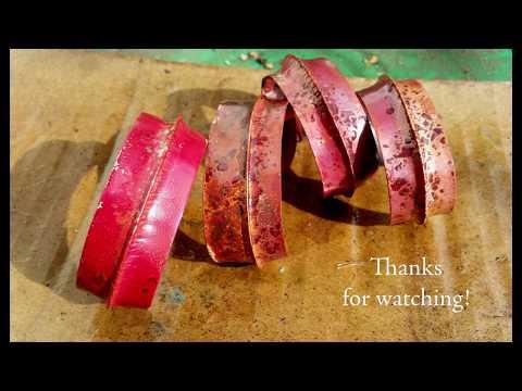 Red Heat Patina On Foldformed Copper Bracelet