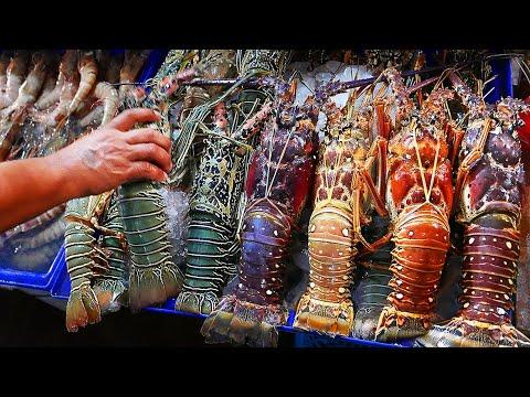 Thai Street Food - GIANT RAINBOW LOBSTER Hua Hin Seafood Thailand