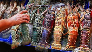 Thai Street Food - GIANT RAINBOW LOBSTER Hua Hin Seafood Thailand