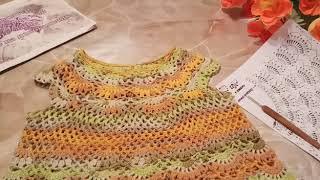 Платье  крючком для девочки 4-5 лет  .-ЗОЛОТАЯ  ОСЕНЬ.