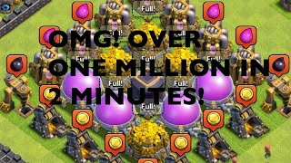 HOW TO LOOT OVER ONE MILLION IN 2 MINUTES TH9 l CLASH OF CLANS