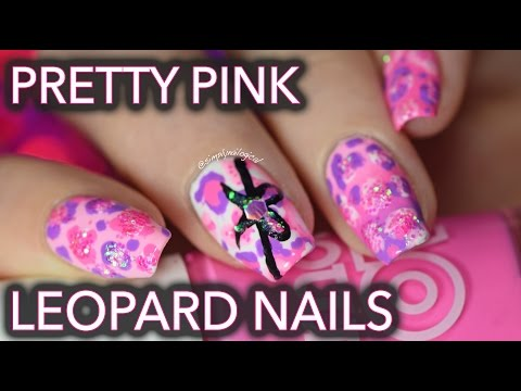 Pretty pink leopard nails - with glitter!