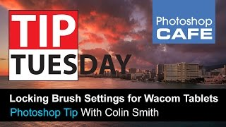 Photoshop Pressure with a Wacom Tablet, lock brush settings. Photoshop Tip.