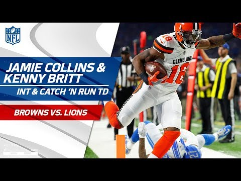 Jamie Collins' Diving INT Sets Up Kenny Britt's Catch-'n-Run TD! | Browns vs. Lions | NFL Wk 10