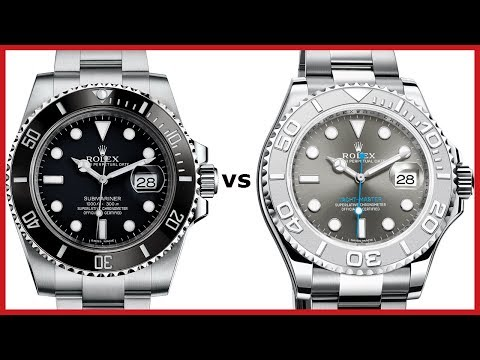 ▶ Rolex SUBMARINER (black, ceramic) vs YachtMaster 40mm (platinum bezel, rhodium) - COMPARISON