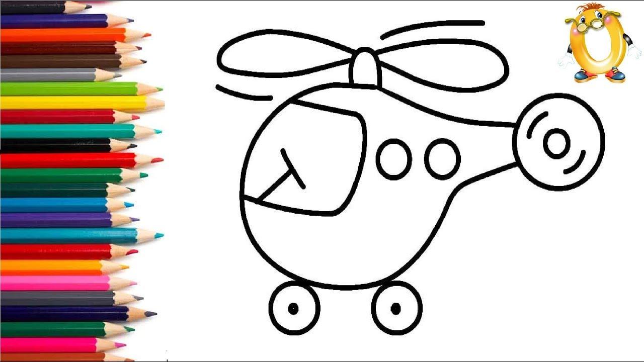 Раскраска транспорт для детей. Рисуем вертолет. Как ...