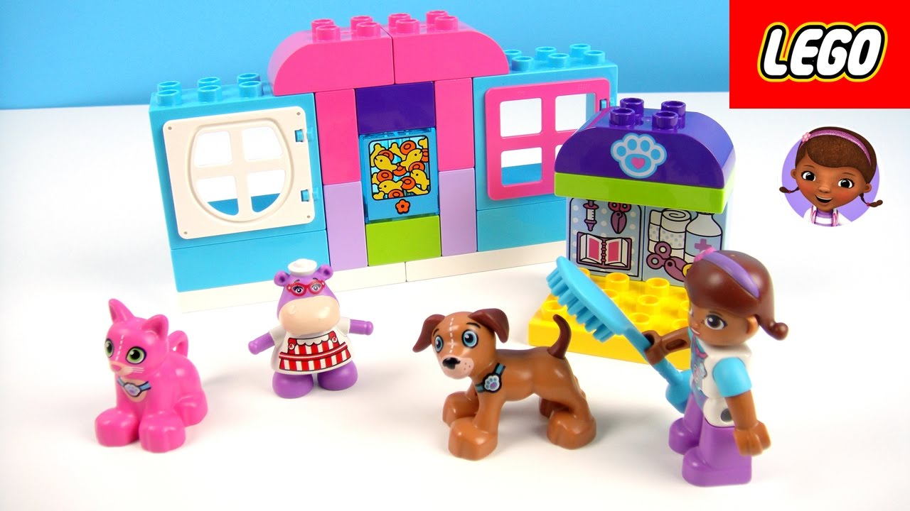 玩 樂高積木 小醫師大玩偶 看診間 洗寵物 量體重 魚缸 玩具開箱 - YouTube