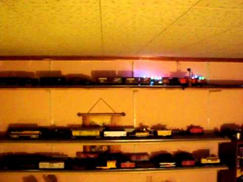 Model train holiday boxcar chase lighting