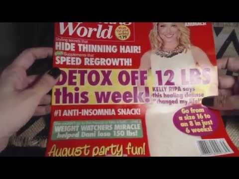 ASMR Chewing Gum and Reading Woman's World Magazine whispered ASMR