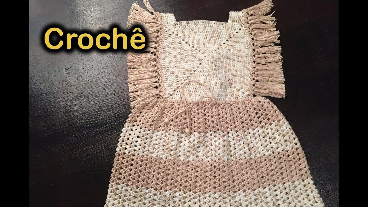 773284310 Jardineira   Vestido Infantil -- Crochê - YouTube