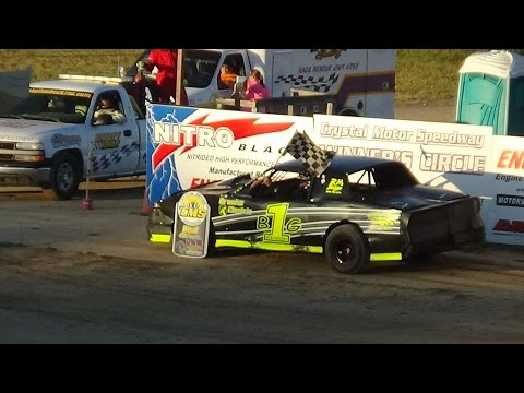 Street Stock Heat Race #2 at Crystal Motor Speedway, Michigan on 07-09-16.