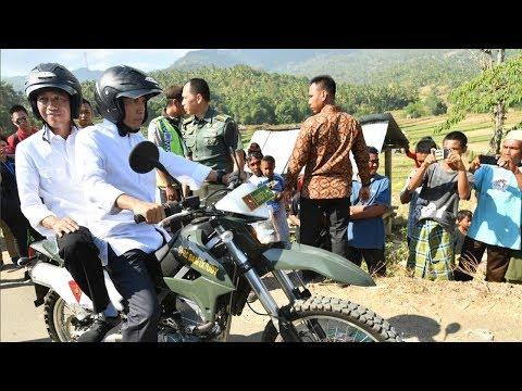 Kunjungi Korban Gempa Lombok, TGB Bonceng Jokowi Menggunakan Motor Trail Mp3