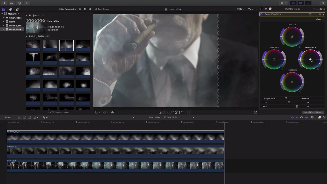 mSmoke 4K - Smoke Practical Compositing Files for Adobe Premiere