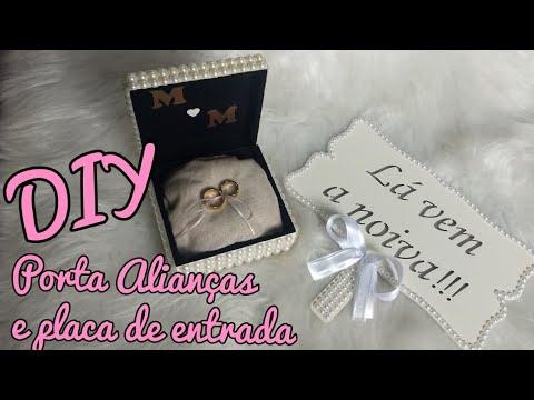DIY Porta Alianças e Placa 'La vem a noiva'