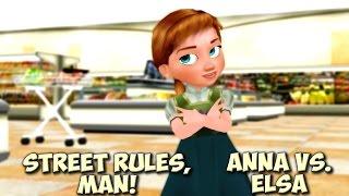 "Frozen - ""Street Rules, Man!"" - Little Anna and Little Elsa - kids funny meme Disney MMD"