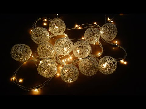 Christmas Decoration Ideas | DIY Cotton ball lights | lanterns /yarn globes/lampshade/ home decor