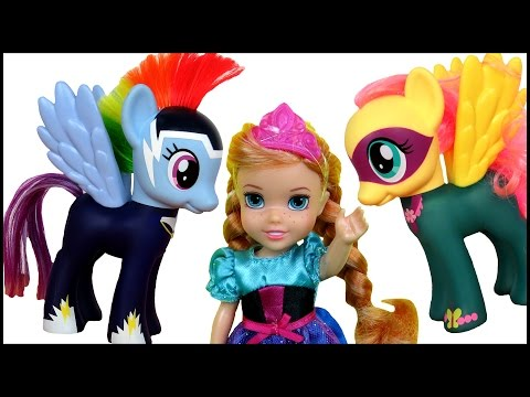 Thumbnail: FLYING on PONIES! Pony RACE! ELSA & ANNA toddlers PLAY , RIDE and Fly on My Little Pony cute ponies